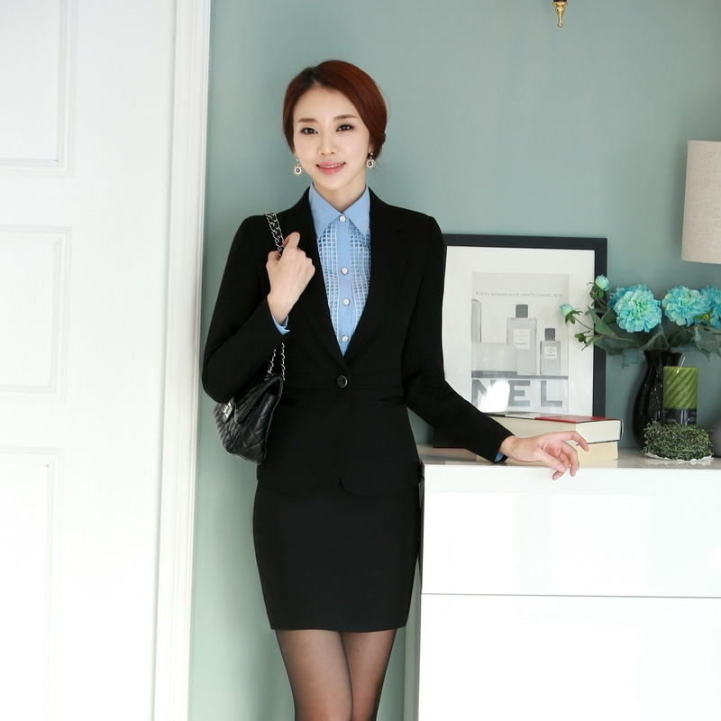 Summer Navy blue Blazer Women Business Suits with Skirt and Jacket Sets  Work Wear Ladies Office ... af52e169b0f3