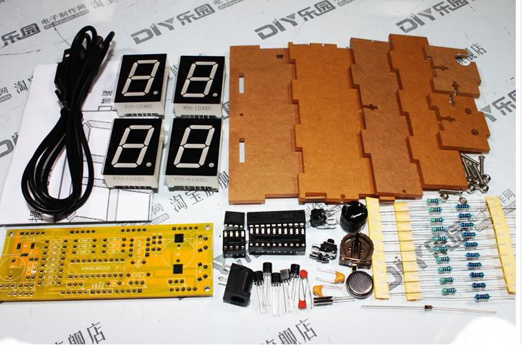 Electronic clock production suite DIY electronic clock kit Single-chip LED digital clock parts A big screen Yellow version(China (Mainland))