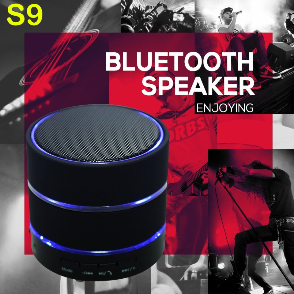S9 Wireless Bluetooth Speaker Mini Portale HiFi Loudspeakers 3-LED-Rings TF Card Super Bass Handsfree for iPhone Samsung HTC(China (Mainland))