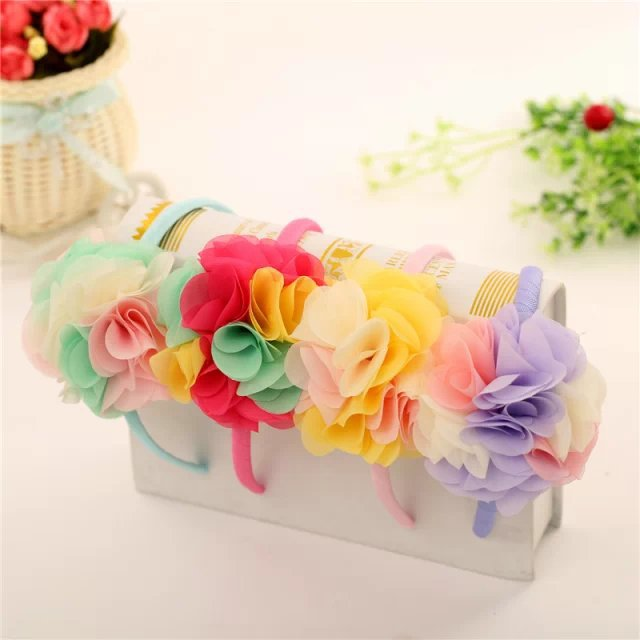 Colored flowers children kids baby girls hair accessories hair bands headwear bow Retail wholesale Boutique tiara GG-189Одежда и ак�е��уары<br><br><br>Aliexpress