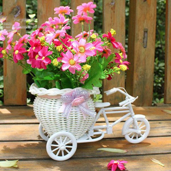 Flower Basket Bicycle Florist Delicate And Mini Bike Basket Decorated  Floats Flower Adornment,Size:23*12.5*9cm,Color: Bike: White; Ribbon:  Blue/pink/purple ...