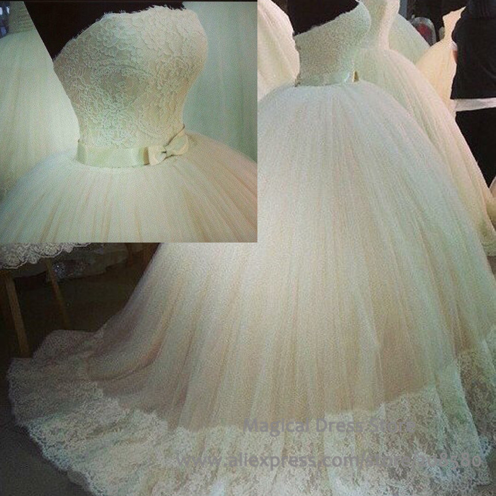 Wedding Dresses Real : Lace ball gown wedding dress real photo tulle ivory white bridal gowns
