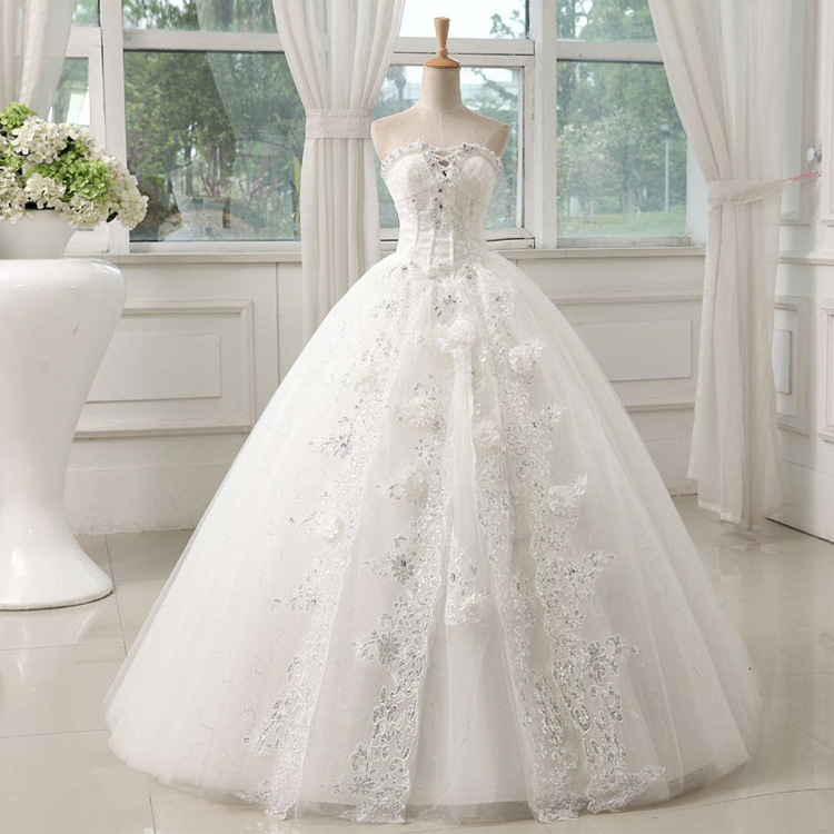 Flowers wedding dress 2015 new fashion sweet sexy lace for Wedding dresses with pearls and diamonds