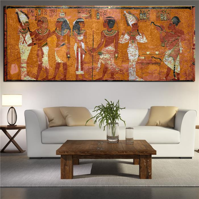 Egyptian decor canvas painting oil painting wall pictures for Painting wall designs for living room