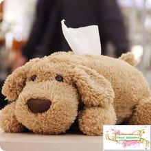 Teddy cartoon dog doll Large Tissue Cover Plush paper napkin Box Creative car pumping paper sets Stuffed animals Free shipping
