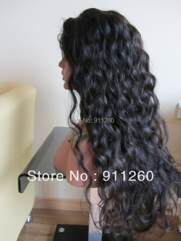 Free Shipping! 24,Natural Color Curly  Indian Human Hair  Front Lace Wig And Full Lace Glueless Wigs For Black Women<br><br>Aliexpress