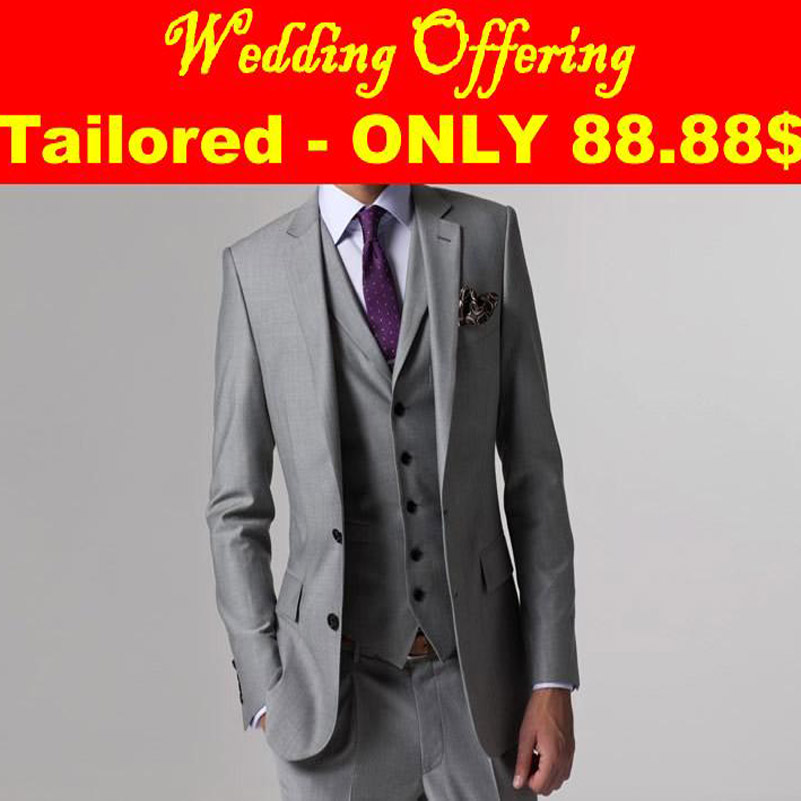 Wedding Offer Wedding Suits For Men 2016 Gray Mens Suits Groom Tuxedo Tailored 3 Peice Suit Grey Tuxedos For Men Wedding TuxedosОдежда и ак�е��уары<br><br><br>Aliexpress