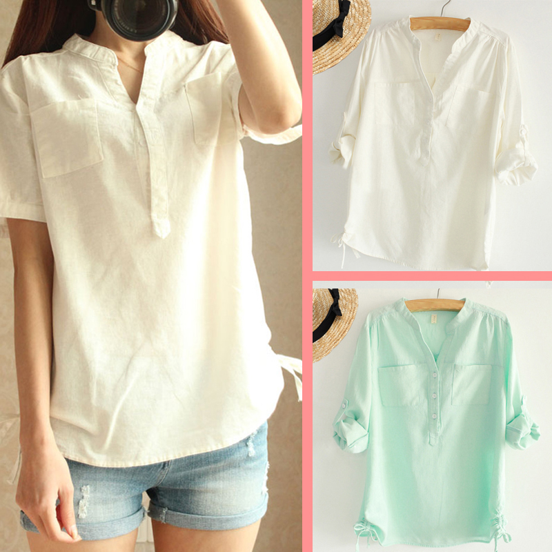 The 2015 summer cotton women's hot selling shirts Linen garment with short sleeves Cloth long sleeve fashion leisure clothing(China (Mainland))