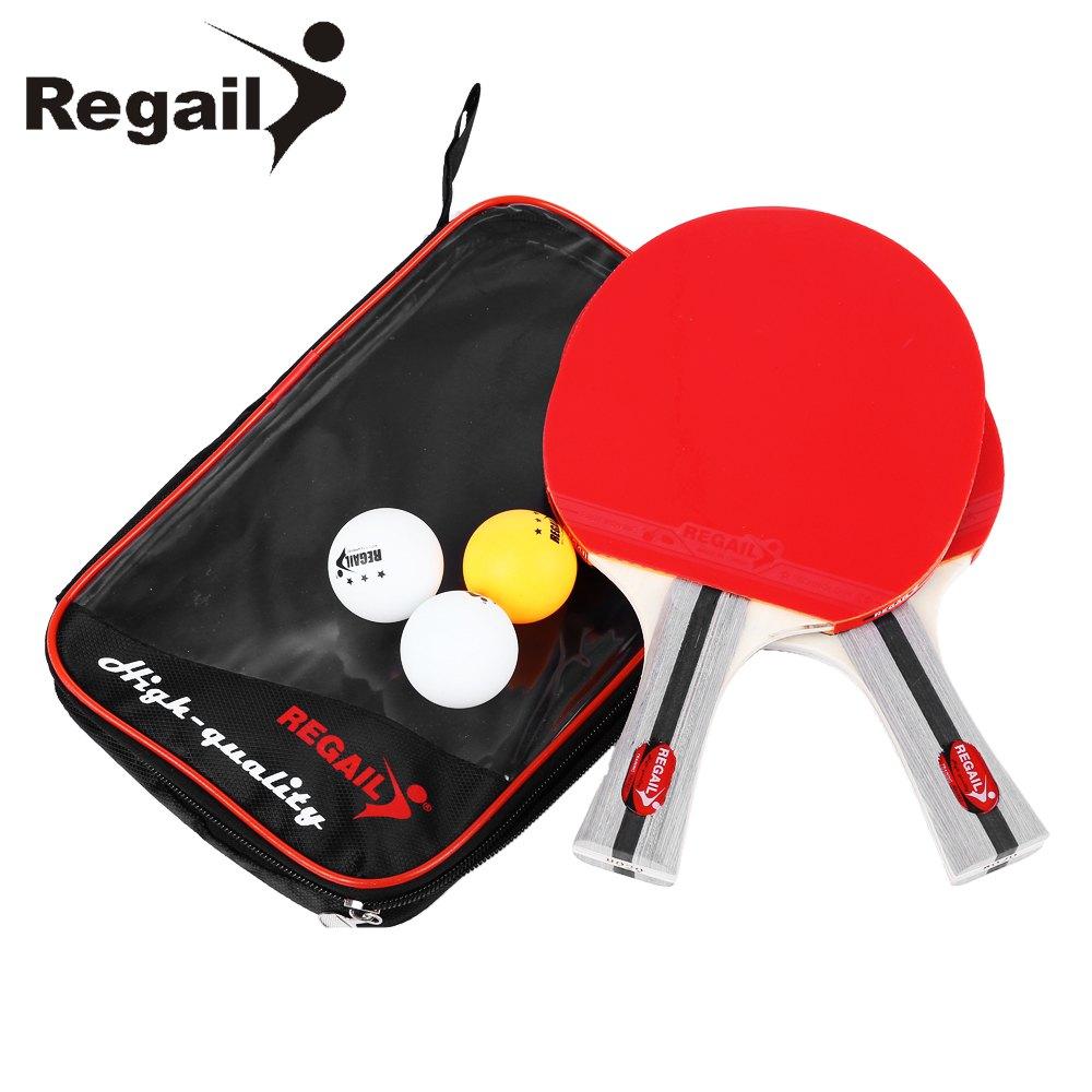 REGAIL 8020 Table Tennis Ping Pong Racket Two Shake-hand grip Bat Paddle Three Balls Light Tip Heavy Handle Table Tennis Racket(China (Mainland))