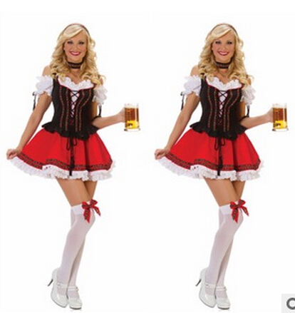 FREE SHIPPING Beer Girl Costumes Halloween new beer sales Service Maid Service Maid outfit(China (Mainland))
