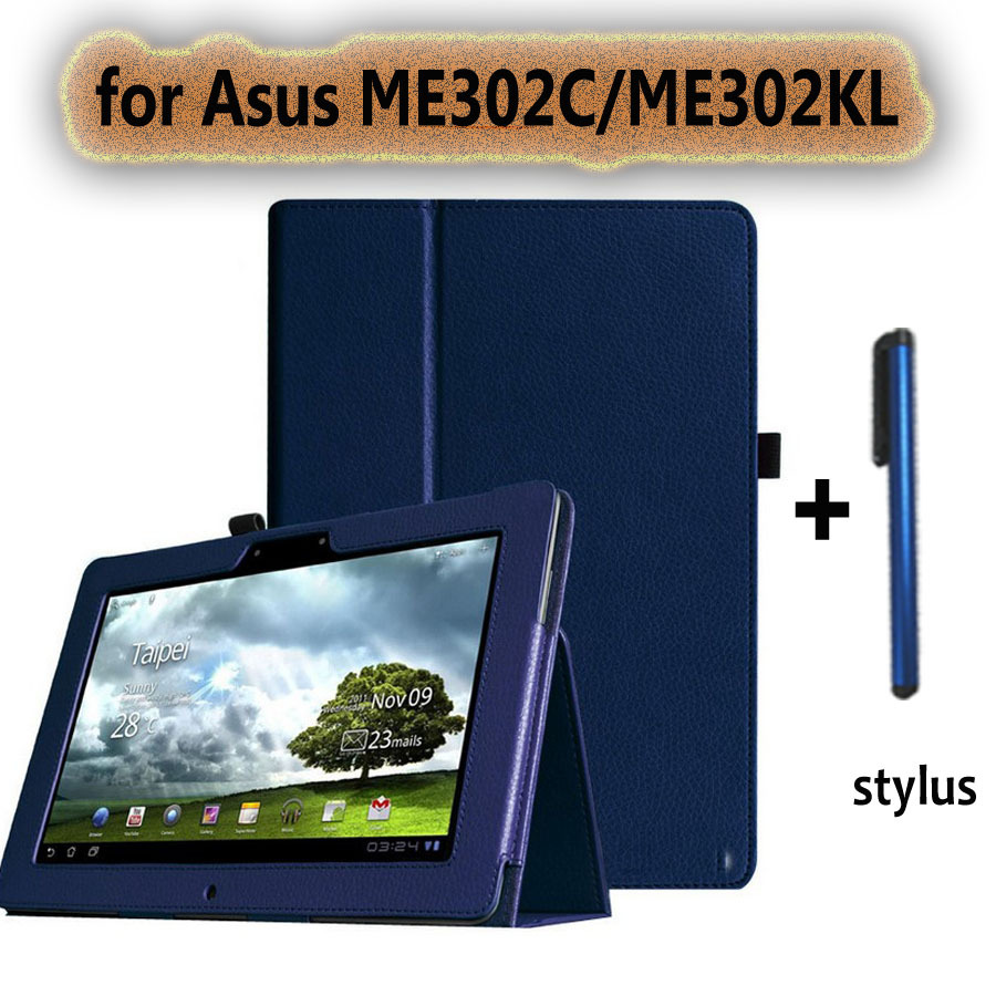 Гаджет  for asus memo pad FHD 10 ME302C/ME302KL  case 10.1 inch tablet leather protective cover +screen protector +stylus pen None Компьютер & сеть