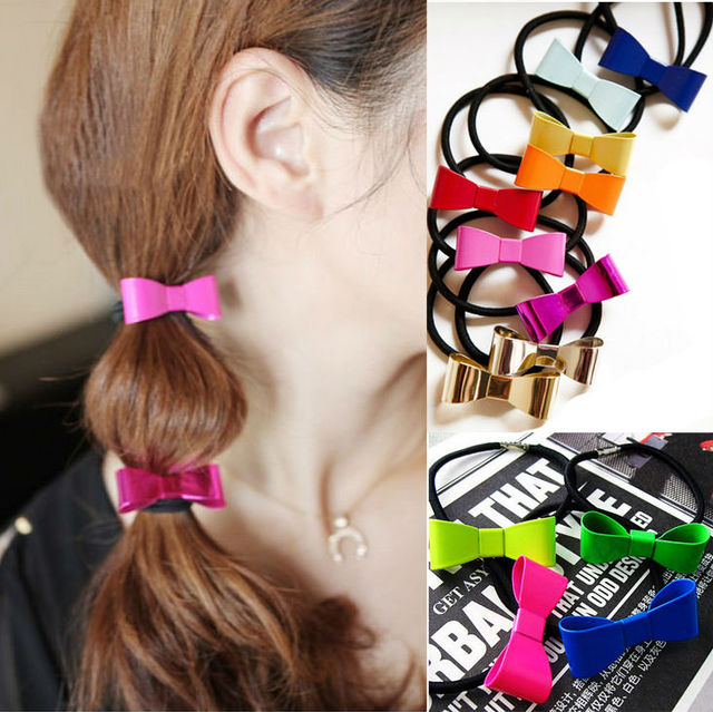 Womens Sweet Colorful Bow Elastic Hair Band Scrunchie Ponytail Holder Bowknot Hair Rope A1R1C