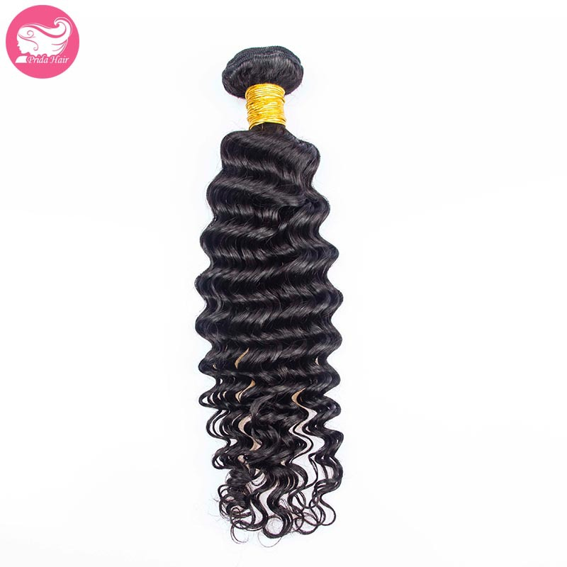 Grade 7A Peruvian Deep Wave Virgin Hair Bundles 1pc Unprocessed Peruvian Virgin Hair Weft Extensions Deep Curly Human Hair Weave