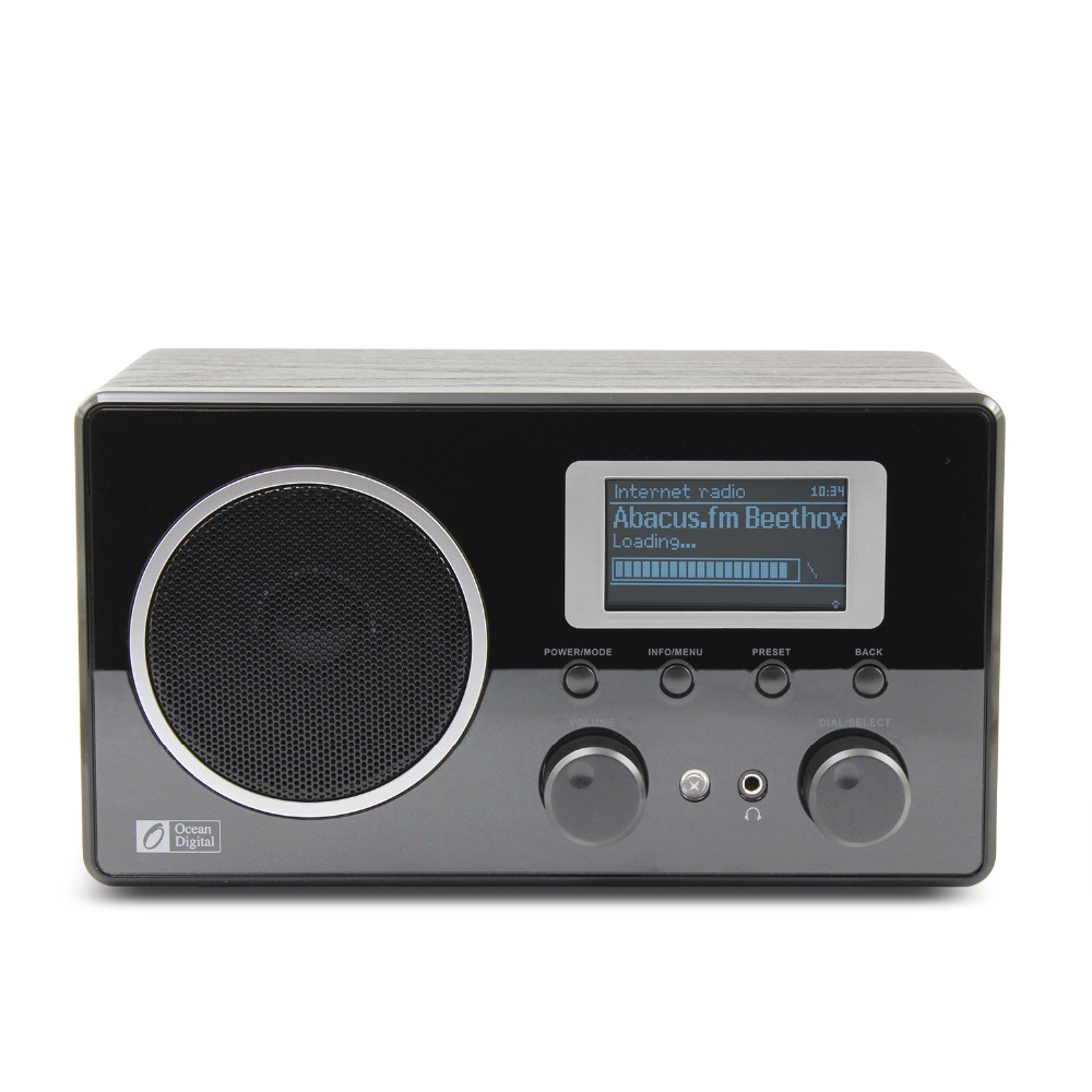 ocean digital wooden fm internet radio wifi music lcd upnp clock alarm player in radio from. Black Bedroom Furniture Sets. Home Design Ideas
