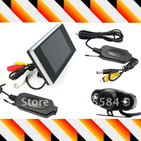 "2.4G Wireless Car Rearview reverse backup parking Camera + 3.5"" TFT Color LCD screen Monitor Display Transmitter & Receiver Kit"