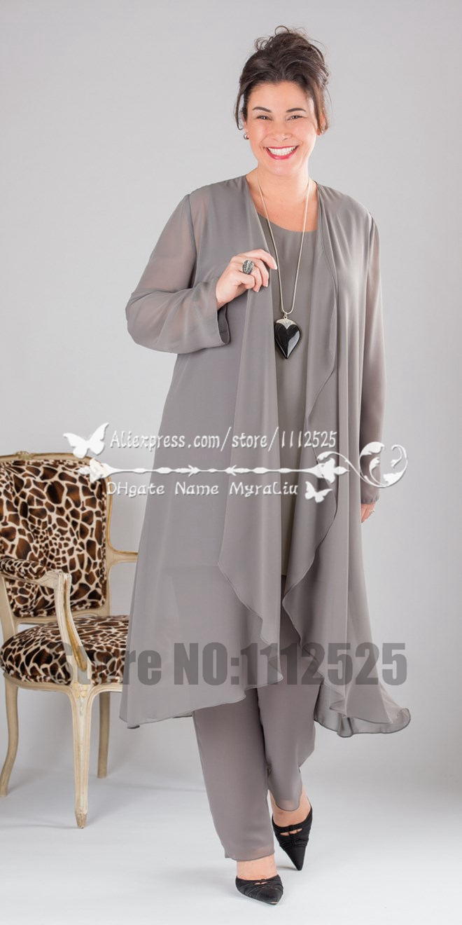Elegant grey chiffon mother of the bride pant suits for Dress and jacket outfits for weddings