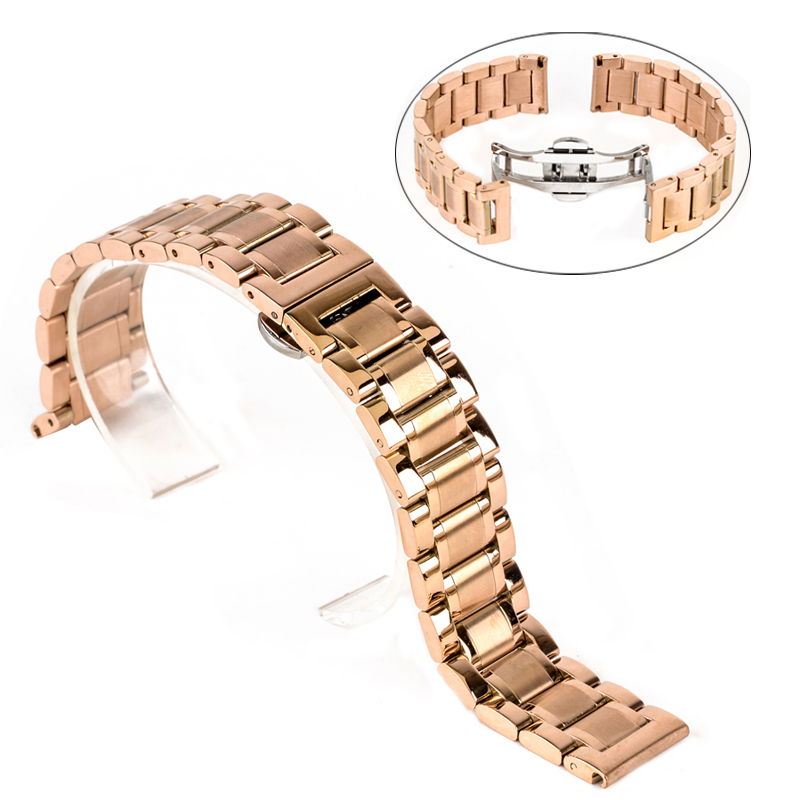 Shellhard New High Quality Silver Black Rose Gold Watchband Stainless Steel Butterfly Clasp Buckle Straight End Watch Band Strap