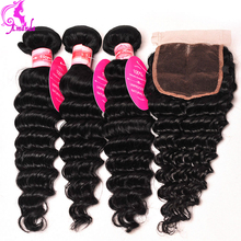 Peruvian Virgin Hair With Closure Peruvian Deep Wave 3 Bundles With Closure Grade 7a Deep Curly Human Hair Weave Deep Wave Brown
