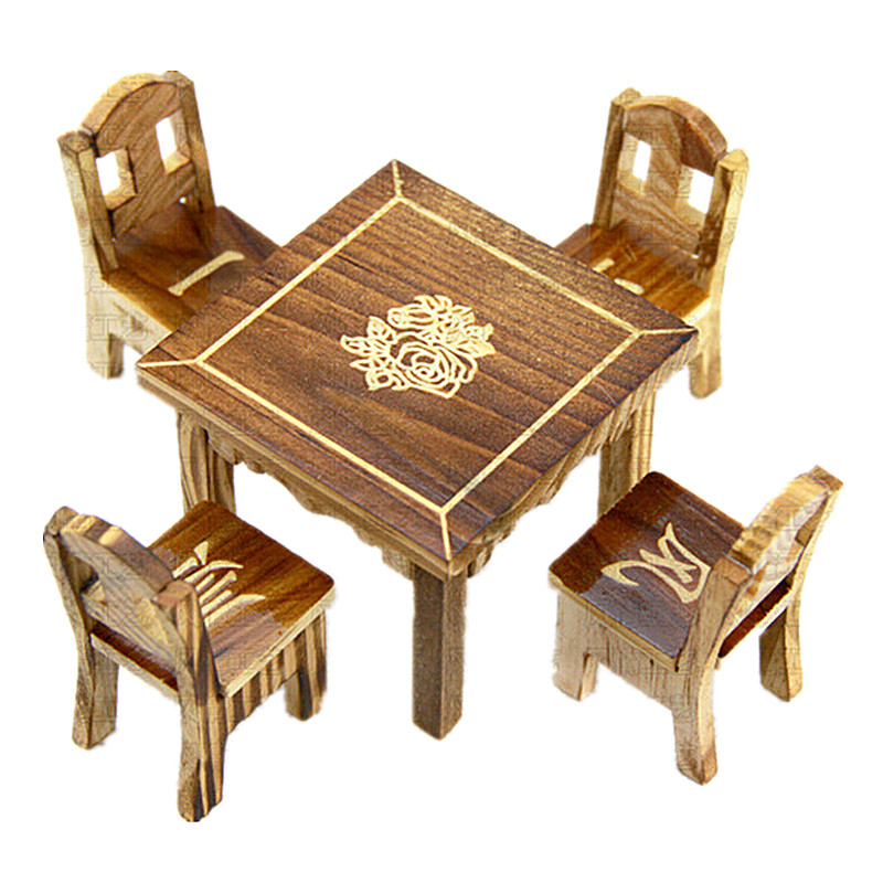 Wooden Dollhouse Miniature Furniture Mini Dining Room 1pc Table &amp; 4pcs Chair Toy<br><br>Aliexpress