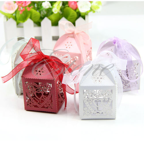Free Shipping 50pcs Love Heart Laser Cut Gift Candy Boxes Wedding Party Favor With Ribbon