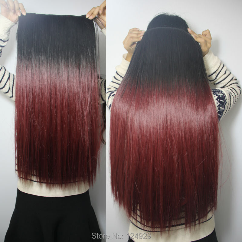 60cm Long Heat Resistant Synthetic Hair Ombre Style Party Cosplay Dip Dyed Clip Extensions Black Wine red - liao zhaofu's store