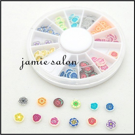 New Hot Wheel Polymer Clay Slices Nail Art Decoration Little Cute Flower Design Free shipping #z3