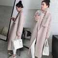 2016 autumn and winter fashion Korean temperament Slim woolen coat Girls long woolen coat women fashion