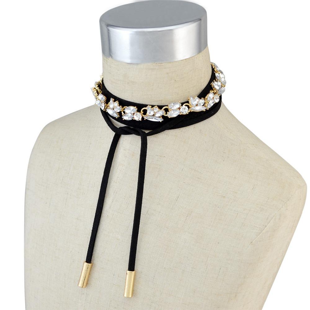 Buy Korean Style Fashion Black Long Leather Gold Chain Crystal Choker Bib