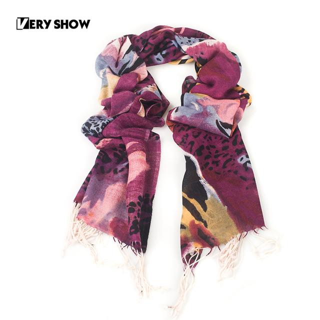 Very show 2012 women's delicate elegant wool tassel long scarf leopard print 24