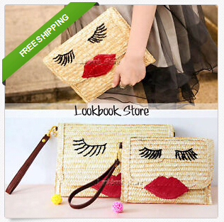 Women Day Cluthes ,Vintage Straw Face Print Red Lips Buckled Foldover Flap Shoulder Bag Clutch Wallet Evening - Fashion & Charm Co.,Ltd store