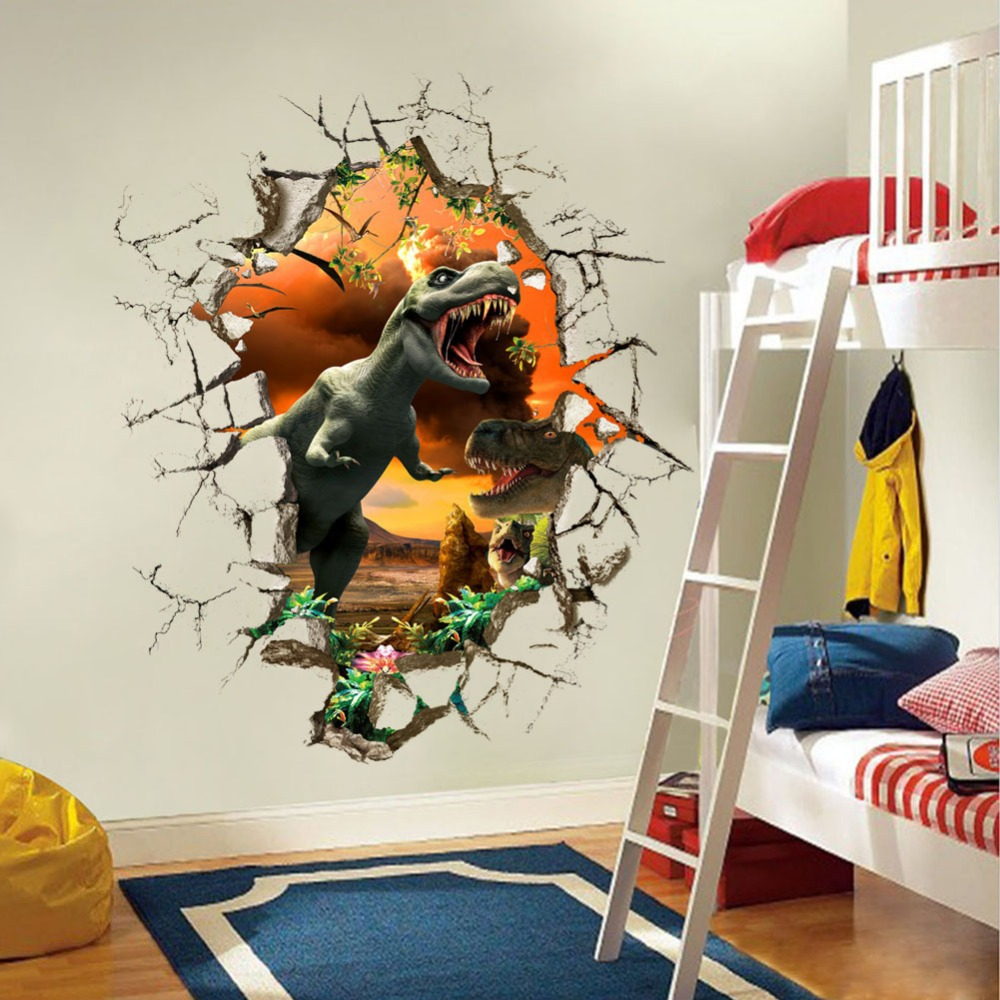 Jurassic Park dinosaur-dimensional wall stickers children's room bedroom living backdrop home decor * - Shanghai Paradise decoration store