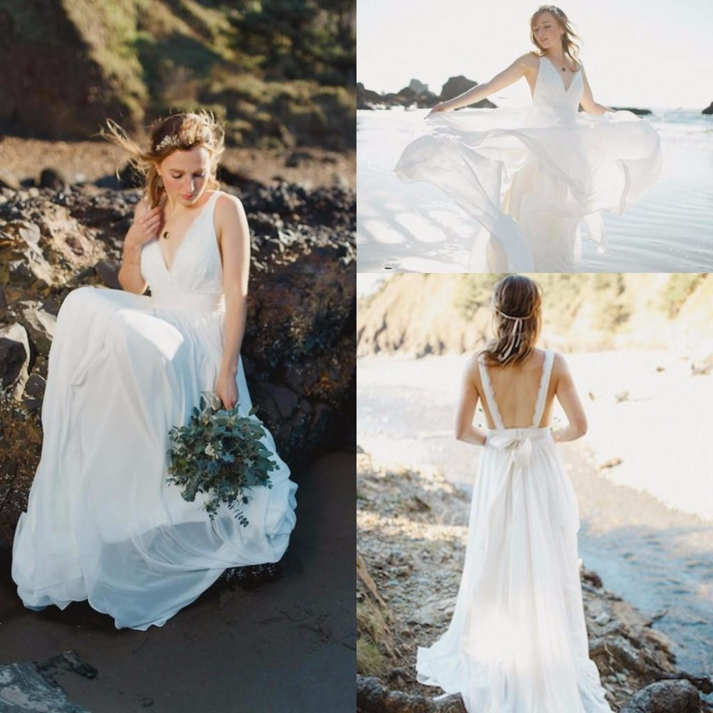 Spring beach wedding gowns 2015 backless bridal dresses for Backless beach wedding dresses