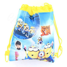 Children school bags Despicable Me Minions Kids Cartoon Drawstring Mochila Infantil For Gift Bag &duolaimi1616(China (Mainland))