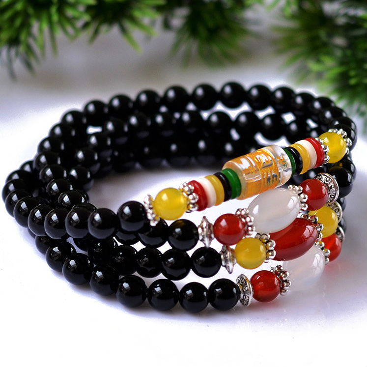 New 2014 Natural Red or Black agate beaded bracelets Fashion 6 MM 108 beads bangles For women&amp;men Vintage jade jewelry  HH031576<br><br>Aliexpress