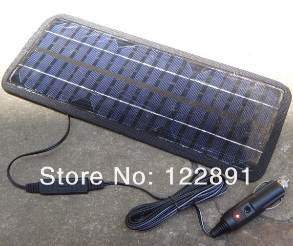 Powerful NEW!12V Portable Solar Panel Battery Charger 4.5W For Car/ Boat /Motor/Mobile Phone+USB Charger 3pcs/lot Free Shipping(China (Mainland))