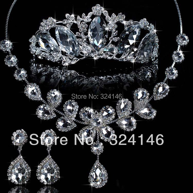 2016 New Arrival Magnificent Crystal Bridal Jewelry sets Noble Rhinestone Wedding jewelry sets For Bride hair Accessories