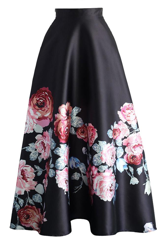 Blossoming-Black-High-Waist-Maxi-Skirt-LC65017-3-1