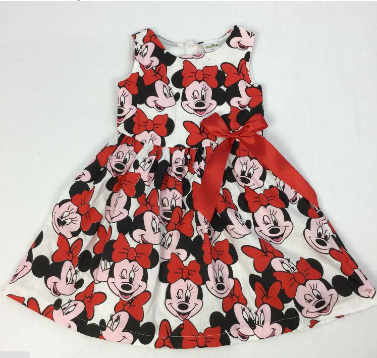 summer style New Girl Cute mini sleeveless Dresses Kids Clothes Dress Cotton Children Lovely Red Cartoon Minnie Costume YAZ069F(China (Mainland))