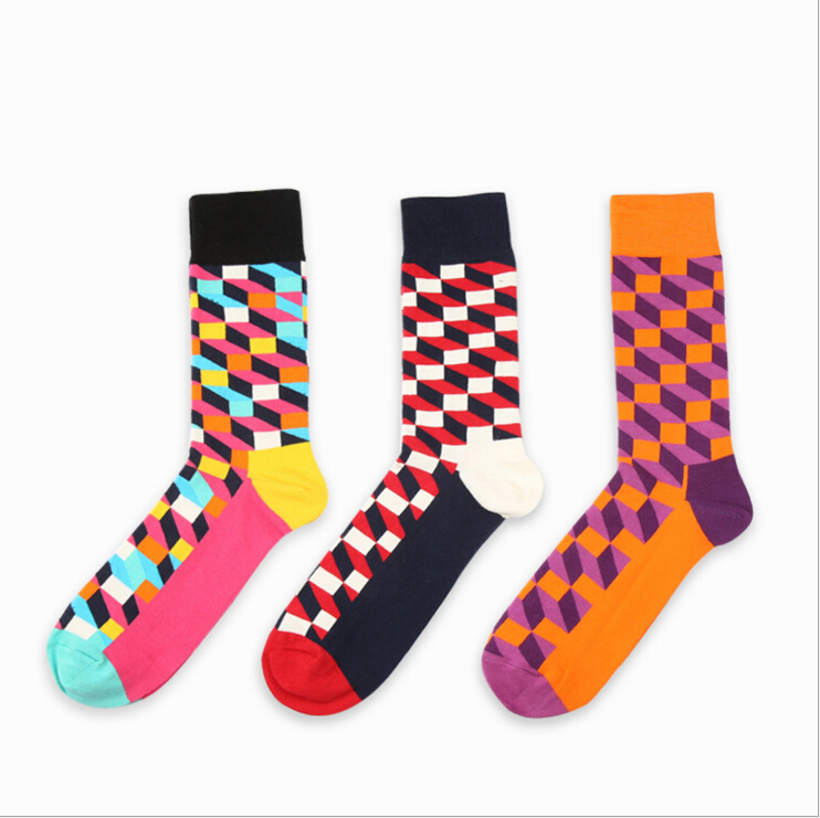new design high quality cotton autumn winter creative colorful geometric brand men long happy socks(China (Mainland))