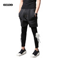 2 Pieces Men Pant Fashion Feather Slim Fit Male Casual Harem Trousers Jogger Sweatpants Stage Show