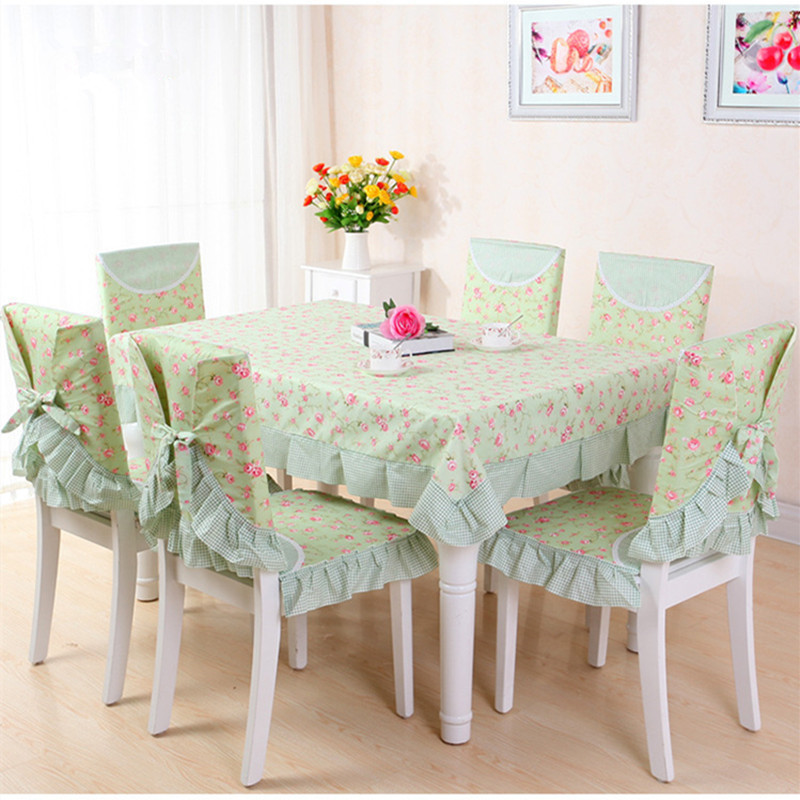 Korean style TableCloth set 130*180cm dining table cloth chair cover cushion polyester Christmas home decor flower printed pink(China (Mainland))