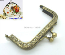 Free Shipping-2PC Metal Frame Kiss Clasp For Purse Bag Antique Bronze 8.7x5.8cm(Can Open Size:10.8x8.8cm) D0092(China (Mainland))