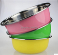 Free Shipping 21CM 23CM 25CM 3pcs set Stainless Steel Deep Mixing Bowl Egg Beating Bowl Colorful