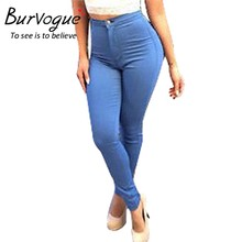 Burvogue Women  Full Length Jeans Pants Skinny Thin Jeans Long Pencil Pants Blue Summer High Elasticity Jeans Pants