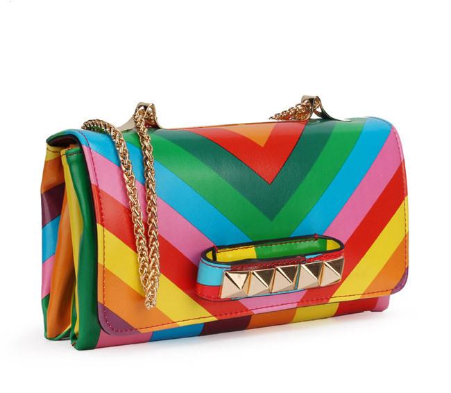 cheap women genuine leather messenger handbags Valentine rivet dollar price bags(China (Mainland))