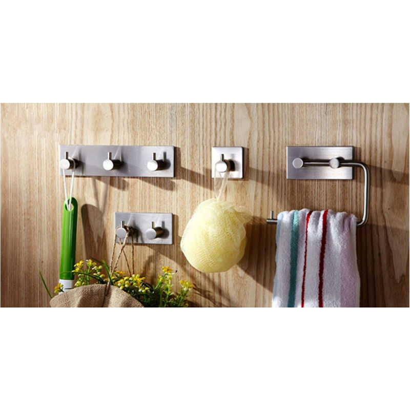Bathroom Wall Hanger Stainless Steel Stick on Adhesive Robe Towel Family Robe Hooks 1-3 Hooks Paper Holder Bathroom Accessories(China (Mainland))