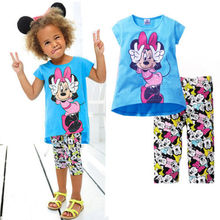 2015 Kids Baby Girls Short Sleeve Cartoon T shirt Tops Cartoon Half Pant Set