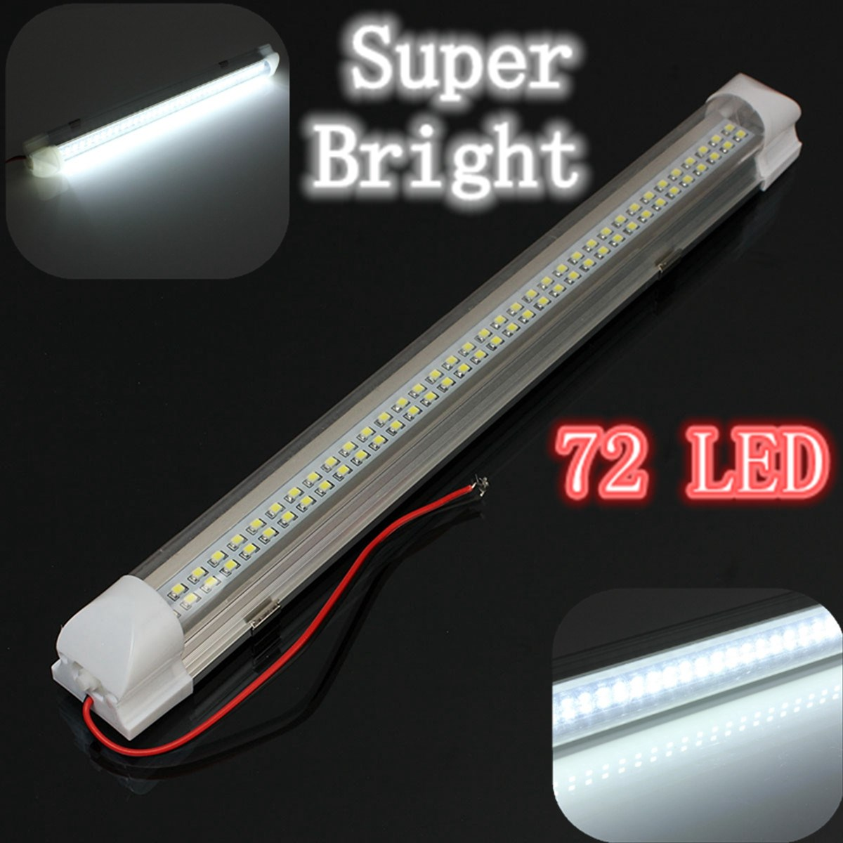 audew 12v universal car auto caravan interior 72 led white light strip bar 340mm lamp on off. Black Bedroom Furniture Sets. Home Design Ideas