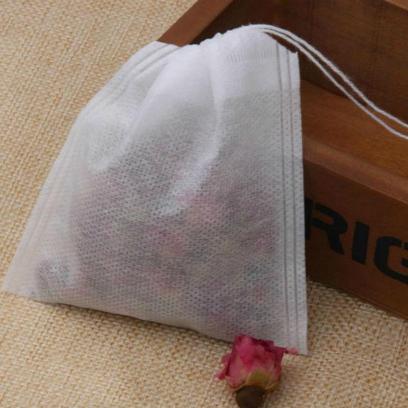 100 pcs 5.5 x 7cm Empty Teabags String Heat Seal Filter Paper Herb Loose Tea Box Bag