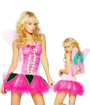 Pretty Pink Pixie With Wings Sexy Adult Costumes Halloween Party costume cosplay 2219